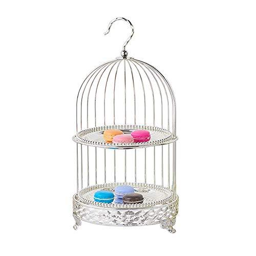 XSWZAQ 3 Tier Cupcake Ständer Halter Eisen Vogelkäfig geformt Obst Kuchen Platte Kuchen Desserts Obst Candy Buffet Display Rack for zu Hause Hochzeit Geburtstag Party Servierteller weiß