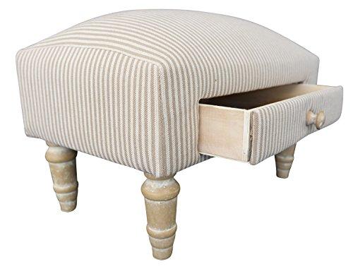 elbmöbel Kleiner Sitzhocker Hocker Muster Weiß Beige Stoffhocker Fusshocker Polster Streifen
