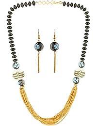 AccessHer Stylish Black And Gold Beads Jaipuri Necklace For Women