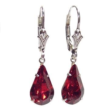 Ohrringe Sterlingsilber Swarovski-Kristalle Tropfenform Siam-Rot mit Geschenkschachtel, hergestellt in England...