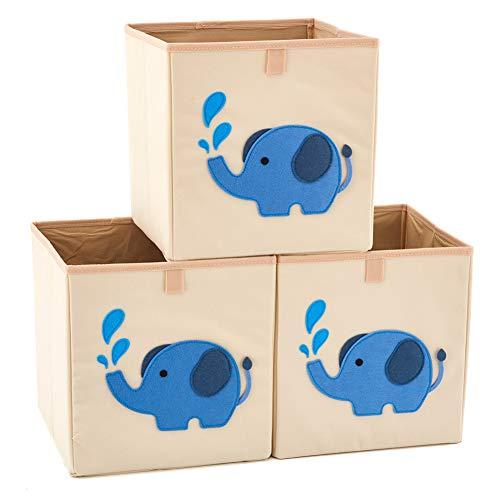 EZOWare Boîtes de Rangement Ouvertes en Textile Non-Tissé, Cube, Carré, Pliable, Tiroir en Tissu, Pack de 3, (26.7 x 26.7 x 28cm) Pour enfants, bébé jouets, livres, puzzles, habits - Éléphant