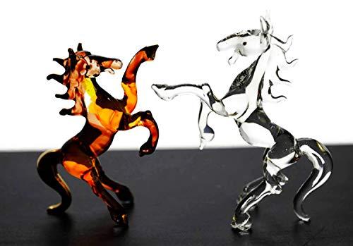 Art Glass Mini-anhänger (ChangThai Design 2 Stück goldenes braunes Pferde-Kämpfer-Handschale aus Glas für Puppenhaus, Miniatur-Dekoration, Dekofiguren)