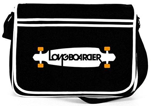 Shirtstreet24, Longboarder, Skateboard Retro Messenger Bag Kuriertasche Umhängetasche , Größe: onesize,Schwarz