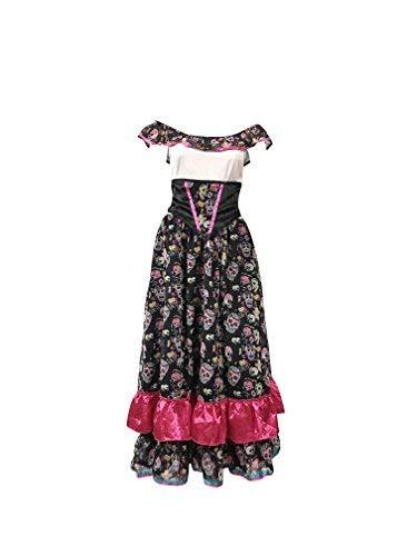 Tag der Toten Outfit - Enthält mexikanischen Senorita Kleid, Schleier und lange schwarze Handschuhe - Steampunk Kostüm für Halloween oder Parades - hochwertige Materialien (Women:34, Long (Dia De Los Muertos Mariachi Kostüm)