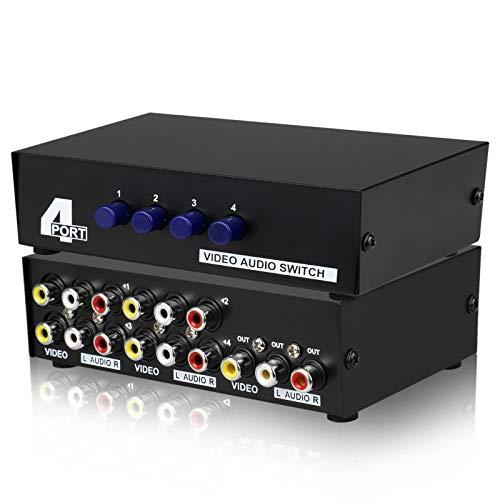 Linkstyle 4-Wege-Composite-3-Cinch-AV-Audio-Video-Switch-Switcher 4-in-1-Ausgangsauswahl-Splitter-Box für DVD-STB-Kabel-Box-Spielkonsolen DVR Analog TV