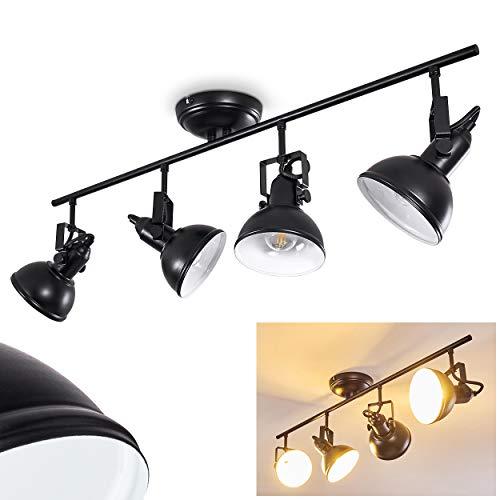 Plafonnier Tina en métal effet rouille, 4 spots orientables au style rétro pour 4 ampoules E14, max. 40 Watts, compatible LED