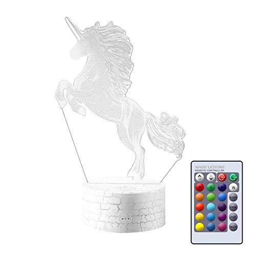 Lámpara de Noche LED 3D, diseño de Unicornio, 7 Colores, lámpara de mesita de Noche, luz de Ambiente, lámpara de Mesa óptica, lámpara para niños, niñas, Hombres, Mujeres, 22 cm