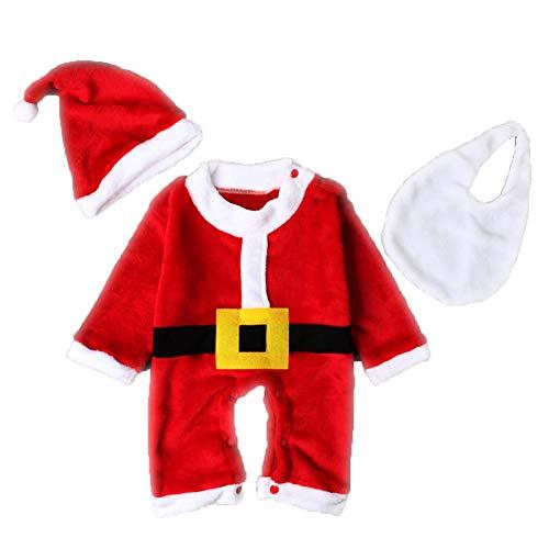 Conjunto de 3 piezas de disfraz de Navidad para bebé, niños, Papá Noel, gorro de peluquería para cosplay, traje de coleccionista Talla:95