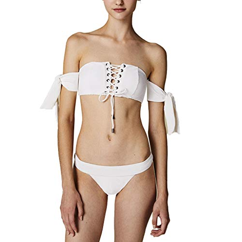 Yijiayu Damen Bademode Tube Top Split Badeanzug Spa Beach Bademode Bikini Sexy Unterwäsche (Color : White, Size : XS) Tube Top Lycra