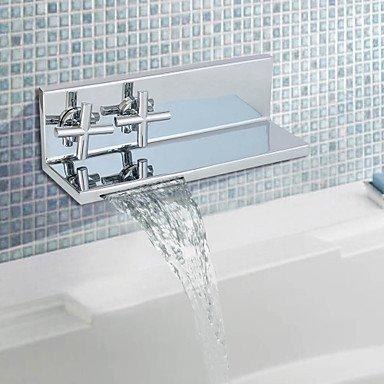 Contemporanea finitura cromata a due cilindri maniglia cascata lavandino rubinetto del bagno (doppia uso scaffale)