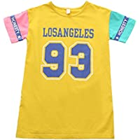 ZZ Modelos de Verano Niñas Camiseta de Manga Corta Falda Casual de la Falda de los Niños,Amarillo,150cm