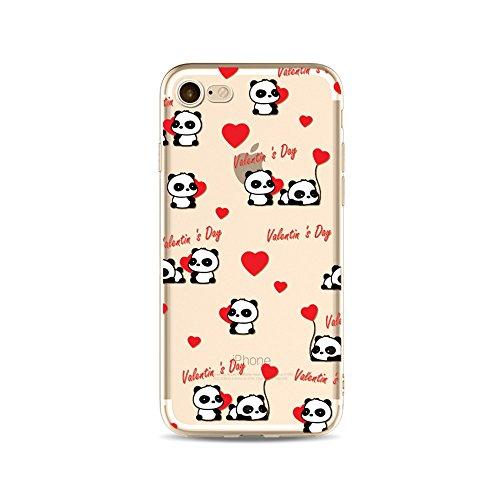 "CoqueiPhone 7 Etui Housse,BoomTeck Coque Pour 4.7"" Apple iPhone 7 Silicone Souple Transparente Motif Clear Ultra Mince Anti Choc Anti-rayures Gel TPU Etui Protection Bumper Case Panda Mignon Bamboo 13"