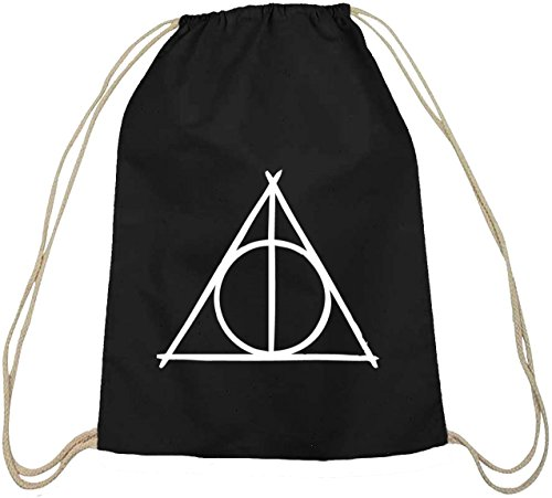 Shirtstreet24 Sacchetto sportivo, con simbolo dei doni della morte (Harry Potter), cotone naturale, nero (schwarz natur), taglia unica