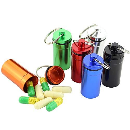 Tianzhiyi Speicherorganisator Pille Box Schlüsselring, Tragbare Medizin Flasche wasserdichte Tasse Aluminium für Outdoor Camping Reisen 6 Stück - Aluminium Kabelabdeckung