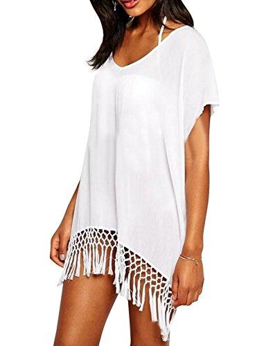 Damen Sommer Fledermausärmel Strandkleid Bikini Cover Up Badebekleidung Tassel Hohl Strick Crochet Blusen Oberteile Weiß (EU34-40, Weiß)