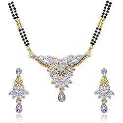 Atasi International Rhinestone Multi-Colour Mangalsutra And Earrings Set For Women