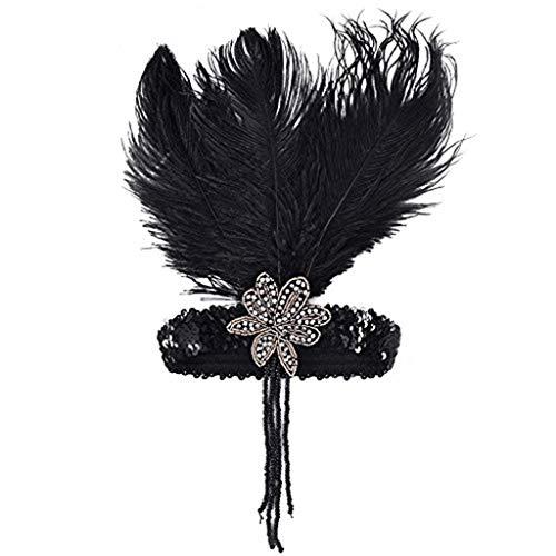Besten Am Flapper Kostüm - 1920s Stirnband mit Feder Schwarz Flapper 20er Haarband Great Gatsby Stil Vintage Pailletten Accessoires Plume Retro Haarschmuck Kopfschmuck für Damen Braut Karneval Kostüm Party Tanzabend LONGBLE (A)