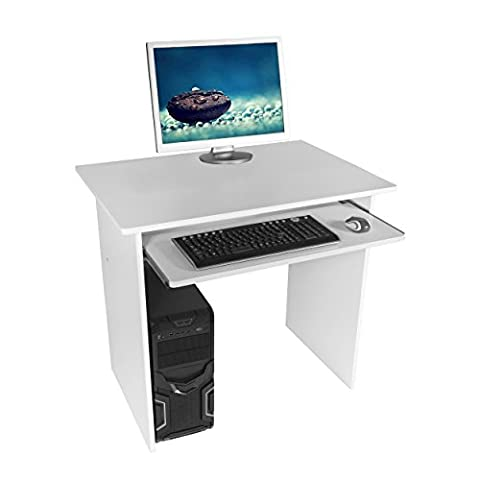 Harima - Humber Professional Compact White Corner Office / Home Computer Desk With Sliding Extendable Keyboard Shelf Workstation Desktop