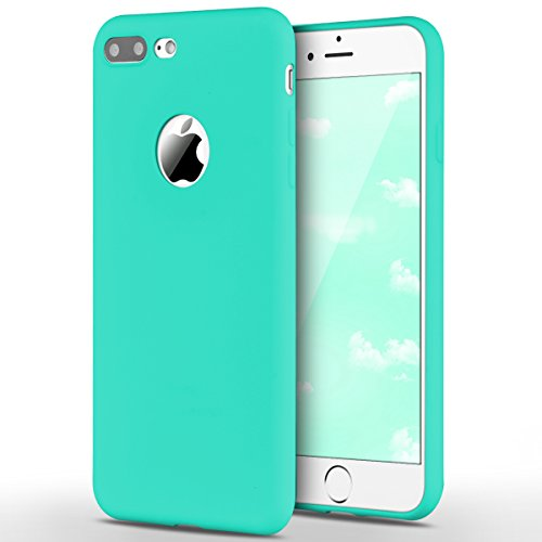 Funda iPhone 7 Plus, Yokata Silicona TPU Pluma Ultra Delgado Ligero Elegante Suave Mate Carcasa Trasera Fantasía Caprichoso Kawaii Adorable Diseño Flexible Case Bumper Resistente a los Arañazos Anti Choque Anti-deslizante Soft Protectora Cover - Candy Azul