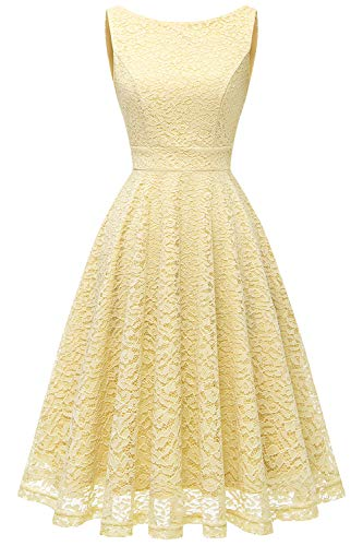 bbonlinedress Damen Charmant Knielang mit Spitzen Rockabilly Cocktail Abendkleider Yellow S - Gelb Damen Kleider