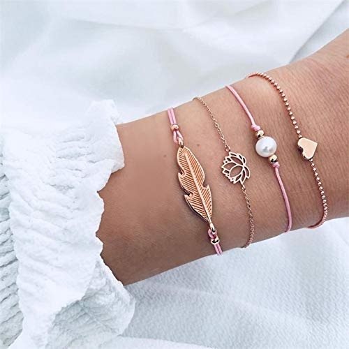 WODESHENGRI Armbänder,Charme Böhmischen Feather Flower Armband Woman Fashion Perlen Kette Armband Multilayer DIY Handgemachten Schmuck Geschenk 5-Teiliges Set Armband