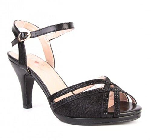 King Of Shoes Elegante Damen Hochzeit Riemchen Abend Sandaletten Pumps Kleiner Absatz Stilettos 588 (37, Schwarz)