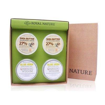 ROYAL NATURE, Aloe Vera Gel 300g * 2 + Shea Butter Cream 300g * 2 (organic cosmetics, Soothing...