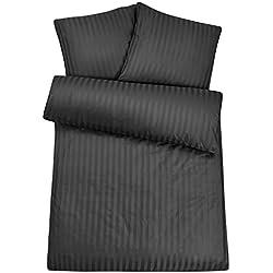 Luxuriöse Damast Bettwäsche in exklusiver Hotelqualität 200 x 200 cm Schwarz aus 100 % Baumwolle für besten Schlafkomfort – Hotelbettwäsche Set mit Kopfkissenbezügen und edlen Damast-Streifen