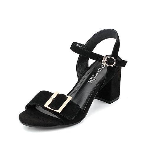 Sommer Damen Mode Sandalen bequem, 42 Blau Black