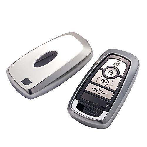 XUNHANG Ford Keychain Cover Vollschutz Keychain Keychain und Keyless Remote Control Kompatibel Smart Escort Edge Mondeo Ecosport Key Series (Farbe : Silver, Design : 1) (Escort Smart)