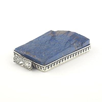 Pendentif minéral Lapis Lazuli at Argent 925 rectangulaire de couleur bleu royal cobalt 36x24x7 mm