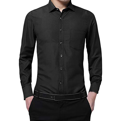Camicetta Top Camicia Fashion Business Tinta Unita Uomo Maniche Lunghe (XL,Nero)