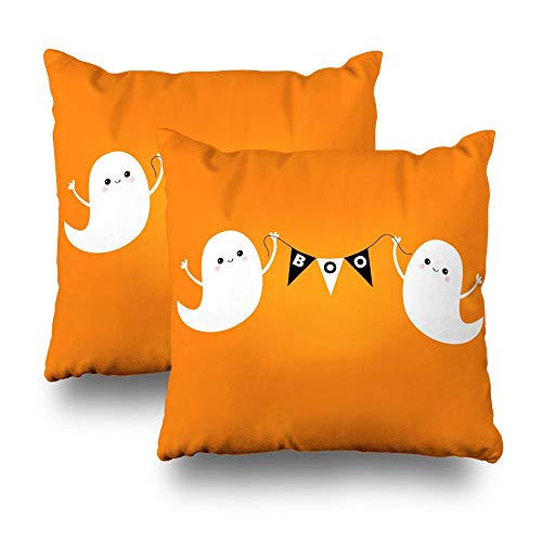 Set of 2 Decorativepillows Case Throw Pillows Covers for Couch/Bed 18 x 18 inch,Flying Ghost Spirit Bunting Flag Boo Happy Halloween Two Scary Ghosts Home Sofa Cushion Cover Pillowcase Gift