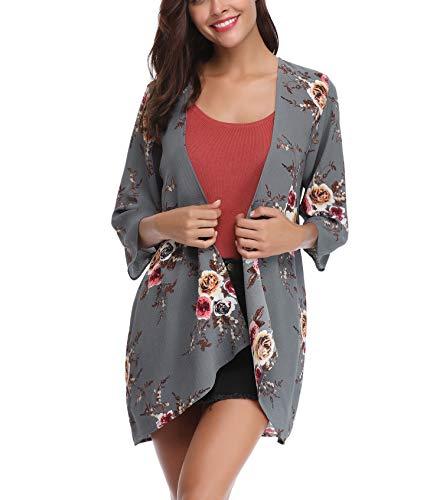 Aibrou Mujer Chal Flojo Cárdigan Kimono Florales