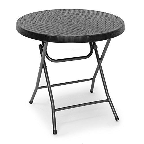 Relaxdays Gartentisch klappbar BASTIAN, rund H x B x T: 74 x 80 x 80 cm, Metall, Kunststoff, Rattan-Optik, schwarz