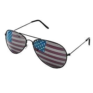 Bandiera americana in metallo Aviator occhiali da sole unisex con stampa motivo obiettivo per protezione dal sole, guida, Eye Wear by super Z Outlet, unisex Uomo donna ragazza Ragazzi, Black