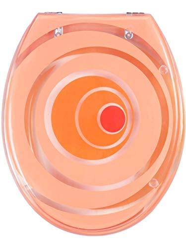 VCM WC Sitz Toilettendeckel Deckel Toilettensitz Klodeckel Klositz Klobrille Klo Tivoli Transparenter Deckel & Ring Verstellbare Metallscharniere Miami orange