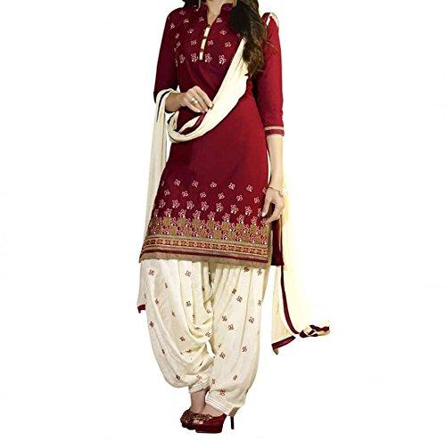 I-Brand Women\'s Cotton A-Line Salwar Suit Set (Ibisund171_Red_Free Size)