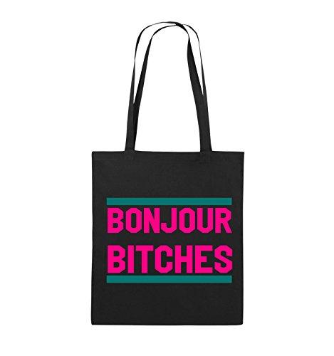 Comedy Bags - Bonjour Bitches - Jutebeutel - lange Henkel - 38x42cm - Farbe: Schwarz / Weiss-Hellblau Schwarz / Pink-Türkis