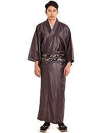 Japanischer Herren Samurai Yukata Kimono Morgenmantel Baumwolle Satin M L XL (Braun)