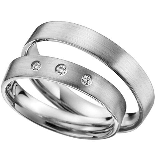 Skielka Designschmuck-Collezione anelli 4mm con brillanti 0,06ct. (platino 600) prezzo per la coppia, fedi nuziali, Partner anelli, dell' amicizia in dell'