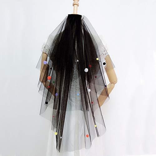 Schleier mit Kamm, 2Tier Schnittkante Taille Länge Brautschleier, Halloween Kostüm Haarschmuck ()