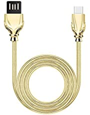 PTron Falcon Pro Type C Cable 2.1A Fast Charging Cable 1 Meter Long USB Cable - (Gold)