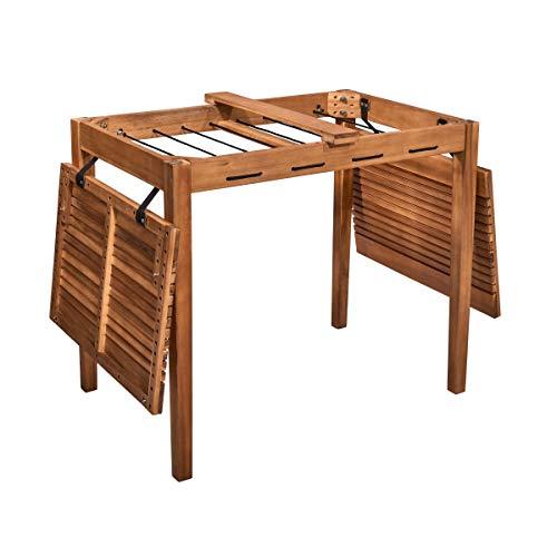 BUTLERS Wizard Tisch mit Wäscheleine 100x60x75 cm - Brauner Holztisch mit Aufhängung - Praktischer Balkontisch, Gartentisch -