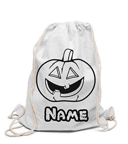 Turnbeutel zum selbst gestalten Halloween Kürbis individuell mit Namen zum bemalen und ausmalen für Kindergarten und Hort Jungen und Mädchen