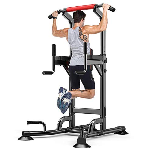 YOLEO Chaise Romaine Musculation Dip Station Réglable Power Tower Multifonction Pullup Fitness Barre de Traction Station Dips Station