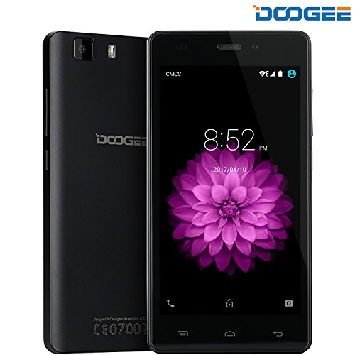 DOOGEE X5, 5 Inch 3G SIM Free Unlocked Cell Phones - 6.0 Android Dual SIM Mobile Phone With HD IPS Display - MT6580 Quad Core - 8GB ROM 5MP Camera Bluetooth 4.0 - GPS Xender Smartphone - Black