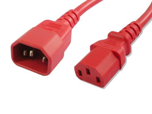 Lynn Electronics C13C1415ARD-3F Netzkabel, 15 Amp/250 V, IEC 60320 C13 auf IEC 60320 C14, Rot -