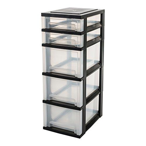 IRIS 122383, Schubladenschrank / Schubladenbox / Rollwagen / Rollcontainer / Werkzeugschrank 'Smart Drawer Chest', SDC-323, mit Rollen, Kunststoff, schwarz / transparent, (B x T x H) : 29 x 39 x 87 cm