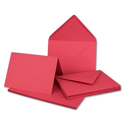 Faltkarten SET mit Umschlägen DIN A6 / C6 in Flamingo-Pink | 20 Sets | Doppel-Karten & Briefumschläge aus Premium-Papier, 14,8 x 10,5 cm | bedruckbare Postkarten | ideal für Weihnachten, Grußkarten und Einladungen | Serie FarbenFroh aus dem Hause GUSTAV NEUSER Hot Pink Karten-umschläge